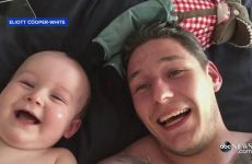 Baby Laughs Uncontrollably At Dad
