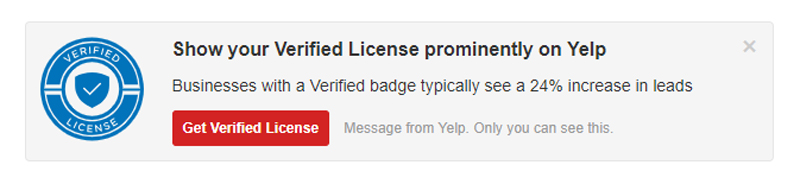 Get Verified License on Yelp