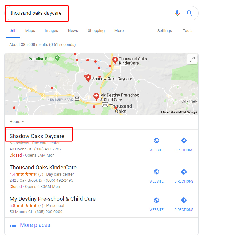 Google Places Daycare Ranking